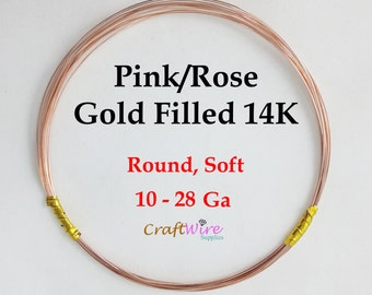 14/20 Rose/Pink Gold-Filled Wire, Round, Dead Soft, 10 12 14 16 18 20 22 24 26 28 Gauge, Jewelry Making Wire