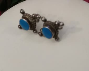 SALE Turquoise Ornate Earrings, Posts, Sterling Silver, Beautiful Design, Vintage Turquoise Earrings, Pierced, Sterling Silver Turquoise
