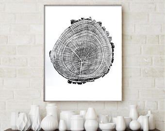 Real tree ring art print, handmade wall art, original woodblock print, modern art, nature design