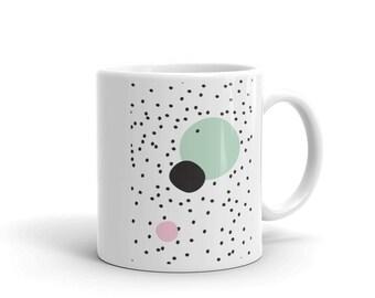 abstract scandi mug, scandi circles, scandi homewares, kitchen wares, coffee cup