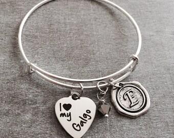 SALE, I love my galgo, Spanish greyhound, galgo Dog, galgo Mom, galgo, galgo Gifts, silver Bracelet, Charm Bracelet, Silver Jewelry, Gifts