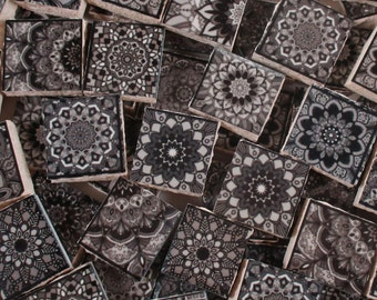 Ceramic Mosaic Tiles - Moroccan Tile Design Black Grey Moroccan Medallions Mosaic Tile 60 Pieces - For Mosaic Art / Mixed Media Art/Jewelry