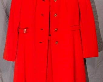 Vintage Young Dimensions Saks Fifth Ave Bright Red Dress & Jacket Set