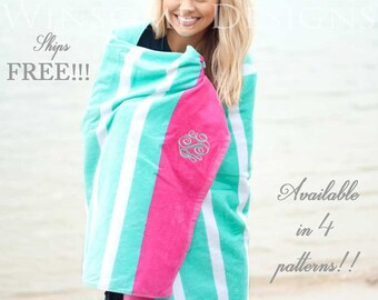 Beach Towel-Monogram Beach Towel-Personalized Beach Towel-Monogram Gift-Gift for Her-Graduation Gift-Towel-Flamingo-Summer-Monogrammed