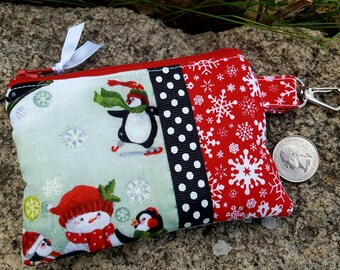 Penguin Coin Purse, Christmas Coin Purse, Winter Zipper Wallet, credit card pouch
