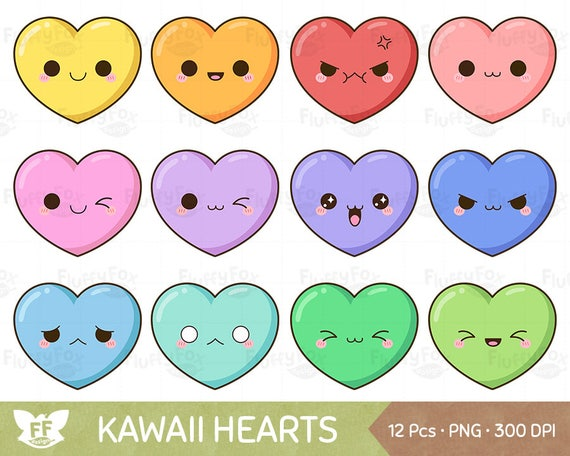 Kawaii Heart Clipart Cute Hearts Clip Art Valentine Love Funny Happy Face Pastel Color Rainbow