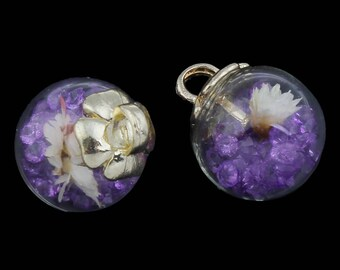 2PC Glass Vial Pendant with Dried Flower-8803d