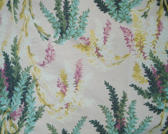Vintage Barkcloth Fabric Panel Table Linen with Abstract Floral Pattern