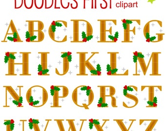 Mistletoe Holiday Alphabet Clip Art for Scrapbooking Card Making Cupcake Toppers Paper Crafts