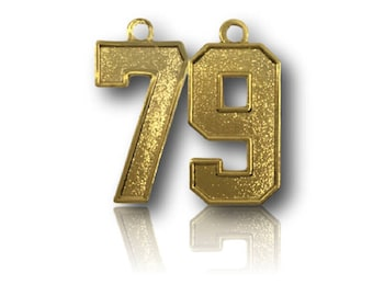 """Number 79 Jersey Style Sports Necklace Charm Pendant (0.8"""" Tall)  GOLD PLATED Football Baseball Basketball Soccer Lacrosse Hockey"""