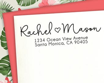 Return Address Stamp With Heart, Calligraphy Stamp, Custom Stamp, Wedding Stamp, Address Stamp, Save The Date Stamp, Address Stamp, Heart