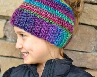 Messy bun hat ponytail hat girls womens crochet bun hat crochet ponytail hat ponytail beanie messy bun beanie gift multi color beanie