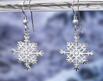 """Snowflake Earrings - Sterling Silver """"French Wires"""" -  Item: S2"""