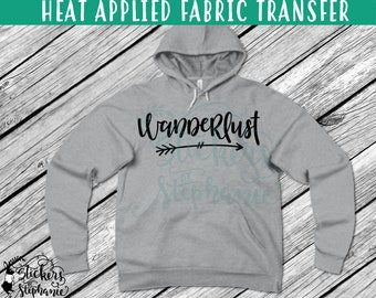 IRON ON v228 Wanderlust Arrow Heat Applied T-Shirt Fabric Transfer Decal *Specify Color Choice in Notes or BLACK Vinyl