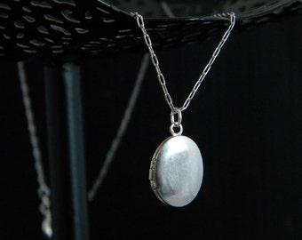 Petite Silver Oval Locket Necklace