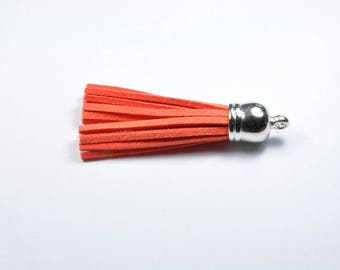 BR976 - 1 silver and orange suede tassel