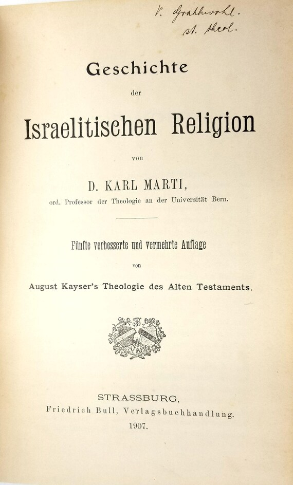 Geschichte der Israelitischen Religion by D. Karl Marti & August Kayser 1907