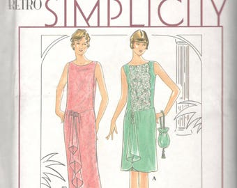 Simplicity 8776 1920s Dress Drawstring Purse Pattern Great Gatsby Downton Abbey Flapper Womens Size 18 20 22 Or 6 8 10 OR 12 14 16 UNCUT