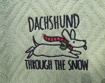 Dachshund Through the Snow ~  Machine Embroidered Kitchen Towel
