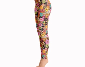 J Dilla loves Donuts Leggings / Printed Leggings / Colorful Leggings / Music Leggings / Food Leggings / Donut Leggings / Fun Tights