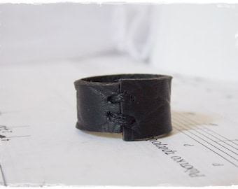 Gothic Ring, Black Leather Band, Victorian Leather Ring, Men's Leather Ring, Cyber Goth Ring, Drow Men's Ring, Leather Anniversary Ring