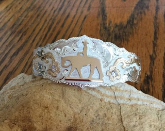 Pleasure horse Cuff Bracelet/ florals with clear stones/ Sterling Silver/ Artisan handmade and engraved