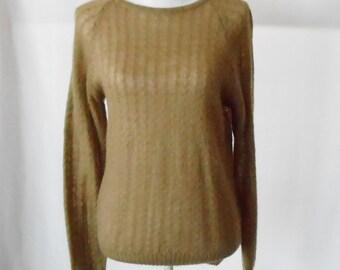 Vintage Country Miss Golden Mohair Pullover Sweater, Vintage Mohair Sweater, Crewneck Sweater, Mohair Blend, Vintage Pullover