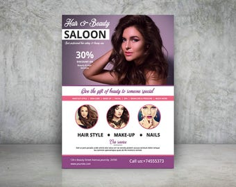 Hair & Beauty Care Salon Flyer Template , Photoshop and Elements Template   Instant Download