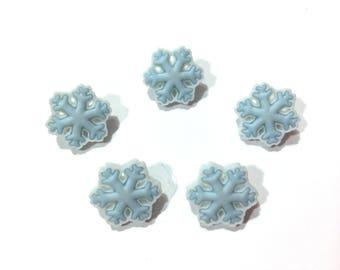 "Snowflake Buttons (5/8"") Buttons Galore Arctic Blast Set of 5 Shank Back - 625 C D"