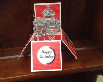 Beautiful Handmade Robot themed pop up box card