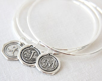fathers Day Gift Set of 3 Sterling Silver Bangles Initial Bracelet Monogram Id Bracelet Simple Personalized Gift for her Custom Wax Seal