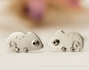 CHAMELEON Earrings Sterling Silver Mini Zoo series