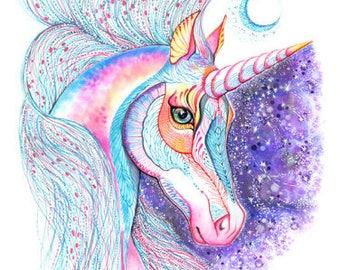 Space Unicorn, horse, high quality art print, size 8'x10'/A4