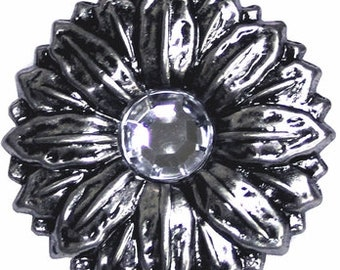 Antique silver sunflower concho