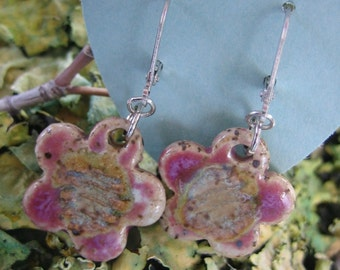 Natures Bliss Wildflower Pottery Dangle Earrings