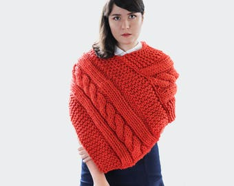 Ready to Ship! Chunky Knit Poncho with Braid - Fall Poncho - Woman's Knit Cape in Orange - Winter Fashion Poncho  | The Janus Cape |