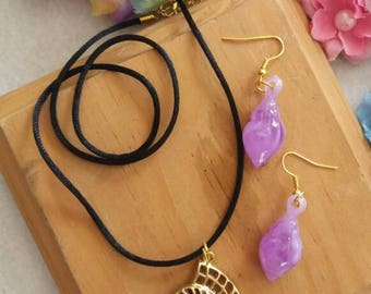 Ursula, The Little Mermaid Set of Necklace and Earrings