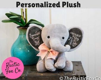 Baptism Gift for Boy, Baptism Gift for Girl, Personalized Elephant, Monogrammed Elephant, Elephant Nursery, Custom Elephant, Birth Gift