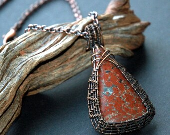 Gemstone Pendant, Copper Rose Cabochon Framed in Wire Wrapped Copper with Antiqued Patina, Casual Style Wire-wrapped Stone Pendant