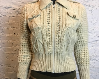 Vintage 70's Medium Ivory Zip Up Sweater Jacket