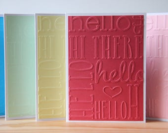 5 Hello Cards. Blank Hello Card Set.  Embossed Hello Cards. Thinking of You Note Cards.  Hi There Card Set