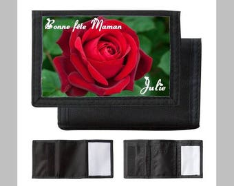 Personalized wallet, first name choice, drawing flowers, Mandalas