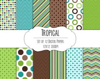 Tropical Digital Scrapbook Paper 12x12 Pack - Set of 12 - Polka Dots, Chevron, Stripes - Instant Download - Item# 8050