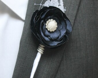 Navy Blue Wedding Boutonniere Grooms Boutonniere Groomsmen Boutonniere Mens Wedding Boutonniere Navy Blue Boutonniere Wedding   Boutonnieres