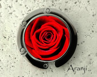 Red rose purse hanger, tabletop purse hanger, purse hanger, purse hook, red rose purse hook, red purse hanger, red rose purse hanger PL104PH