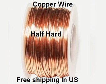 1/2 Lb. Round Solid Copper Wire ( Half Hard ) On Spool - 99.9% Pure Copper ( Gauges -10 - 12 - 14 - 16 - 18 - 20 - 22 - 24 - 26 - 28 - 30 )