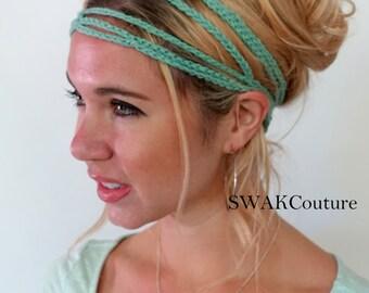 Crochet Cotton Headband Boho Headband Hippie Headband Goddess Headband Festival Hair Accessories Hair Wrap for Women Handmade - Mint