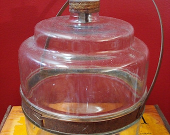 Vintage 1 Gallon Kerosene Glass Drip Jar Container with Metal Bail Handle, ca. 1920's