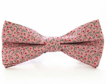 Pink Floral Bow Tie | cotton bowtie | flower bowtie | best man bow tie | pink bow tie | flower bow tie | floral bowties | gifts