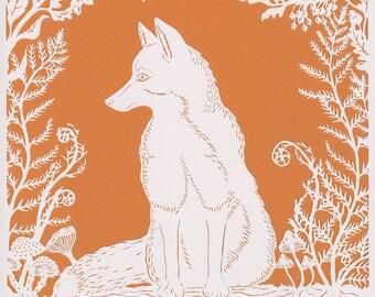Fox papercut. 'Fox in Ferns'. Print from an original handmade papercut.